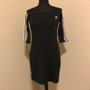 NWT Off The Shoulder Adidas Black Dress Size M